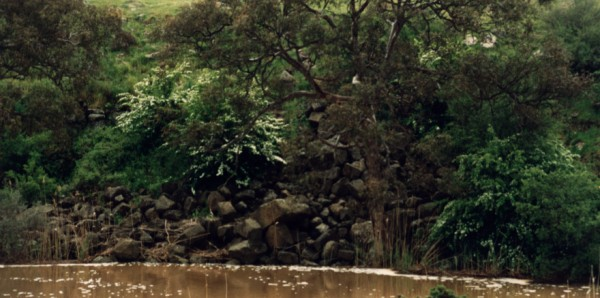Rockfall on Merri Creek at Summerhill Road, Wollert, Victoria, Australia