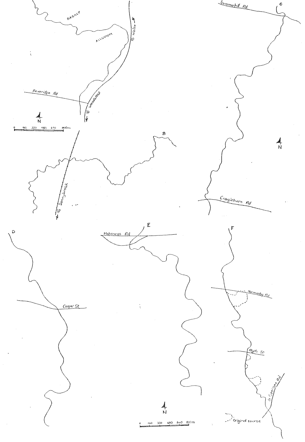 Drawing showing meander patterns in the Merri Creek valley