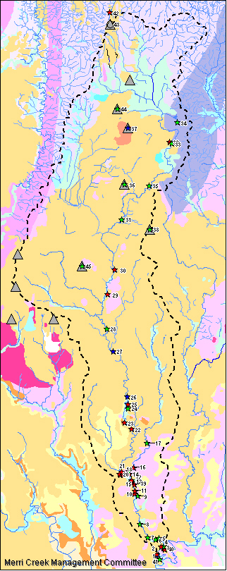 Map of geological sites in the Merri Catchment